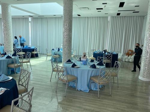 light blue tablecloths