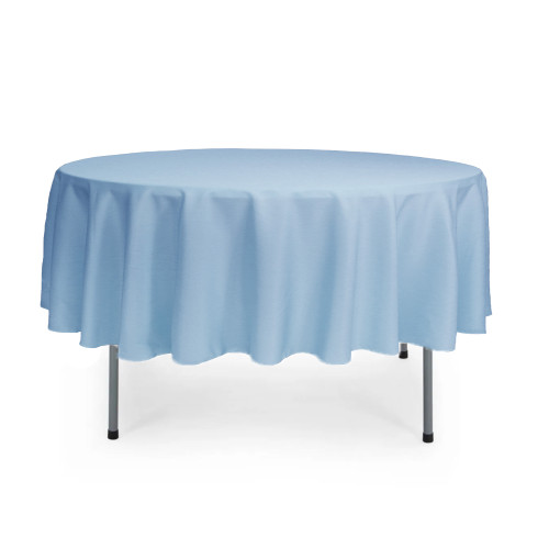 90 Inch Round Polyester Tablecloth Light Blue