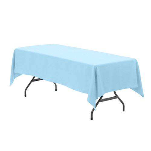 60 x 126 Inch Rectangular Polyester Tablecloth Light Blue