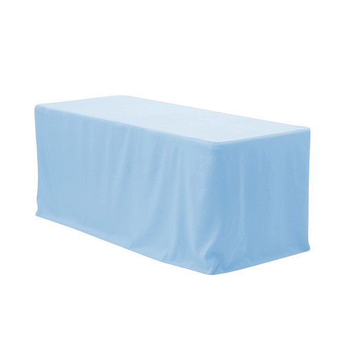 8 ft Fitted Polyester Tablecloth Rectangular Light Blue