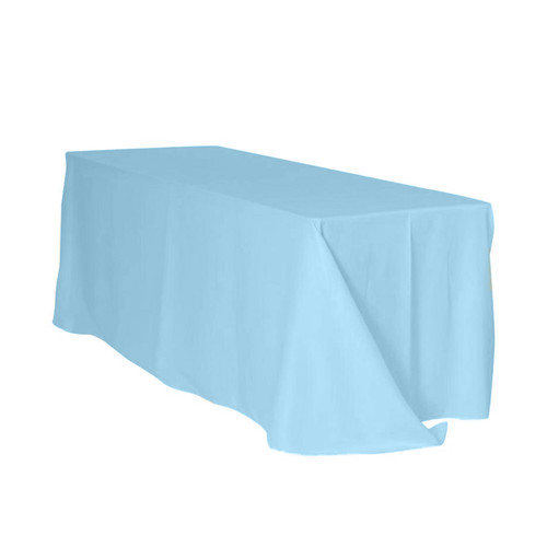 90 x 156 Inch Rectangular Polyester Tablecloth Light Blue