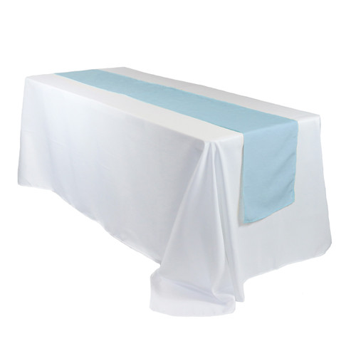14 x 108 Inch Polyester Table Runner Light Blue on rectangular table