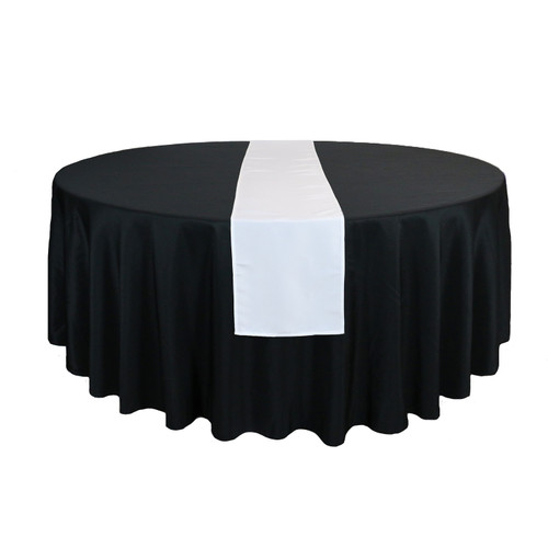 14 x 108 Inch Polyester Table Runner White for round tables