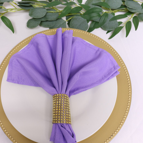 Polyester Cloth Napkins Lavender in use