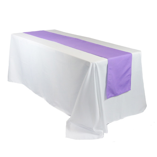 14 x 108 Inch Polyester Table Runner Lavender on rectangular table