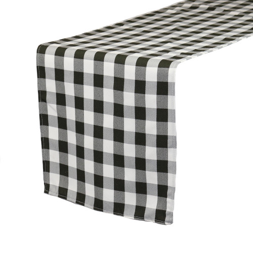 14 x 108 Inch Polyester Table Runner Checkered Black