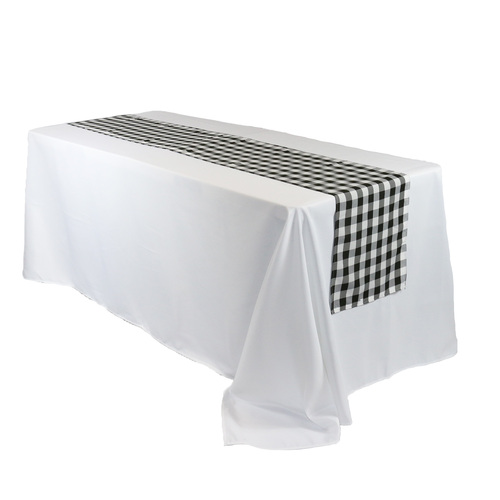 14 x 108 Inch Polyester Table Runner Checkered Black for rectangular tables