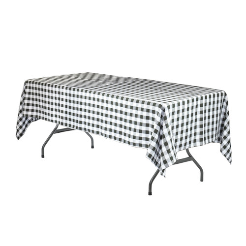 60 x 102 Inch Rectangular Polyester Tablecloth Checkered Black