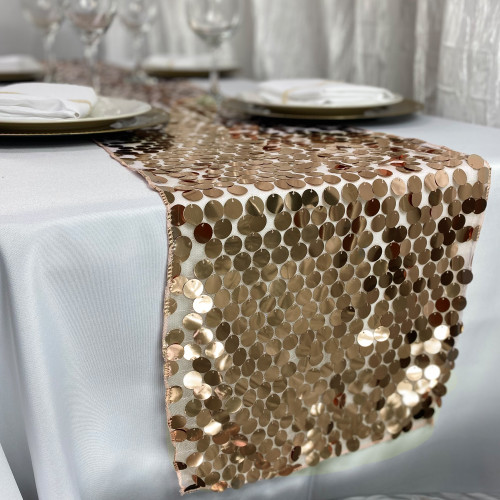 "14"" x 108"" Large Payette Sequin Table Runner Champagne"