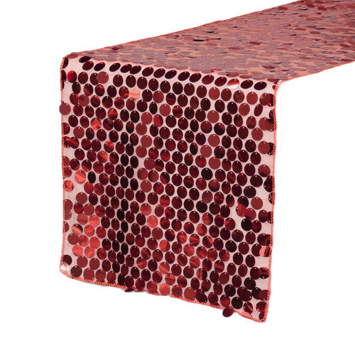 """14"""" x 108"""" Large Payette Sequin Table Runner Red"""