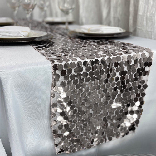 "14"" x 108"" Large Payette Sequin Table Runner Silver"