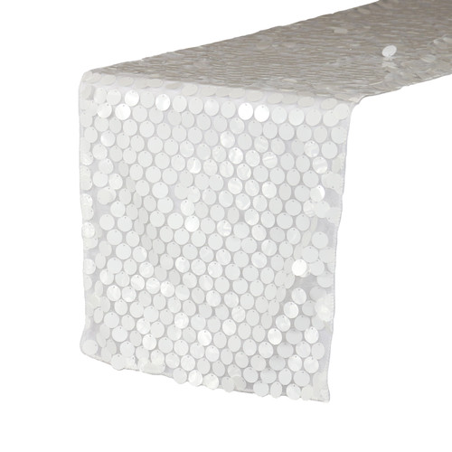 "14"" x 108"" Large Payette Sequin Table Runner White"