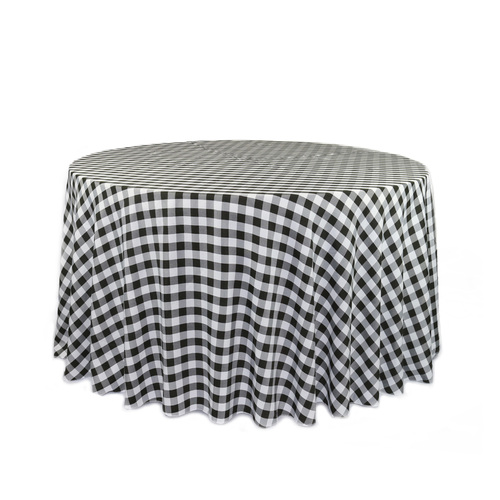108 Inch Round Polyester Tablecloth Checkered Black