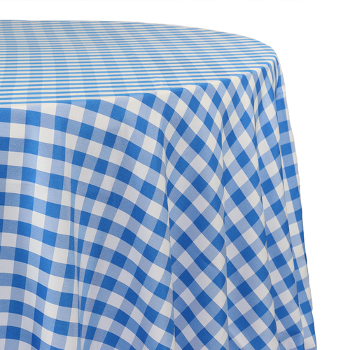 108 Inch Round Polyester Tablecloth Checkered Royal Blue Zoom
