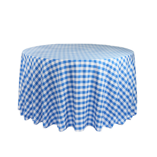 108 Inch Round Polyester Tablecloth Gingham Checkered Royal Blue