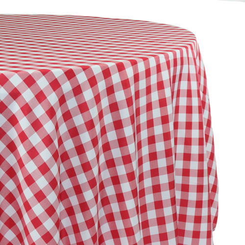 108 Inch Round Polyester Tablecloth Checkered Red Zoom