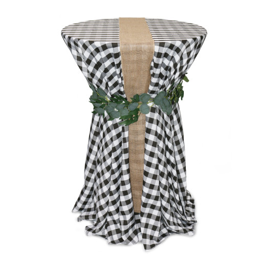 120 Inch Round Polyester Tablecloth Checkered Black on cocktail table