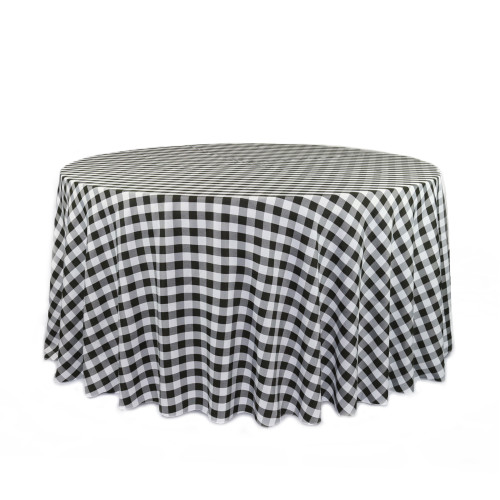 120 Inch Round Polyester Tablecloth Checkered Black