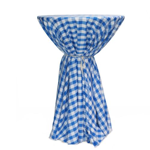 120 Inch Round Polyester Tablecloth Gingham Checkered Royal Blue on cocktail table