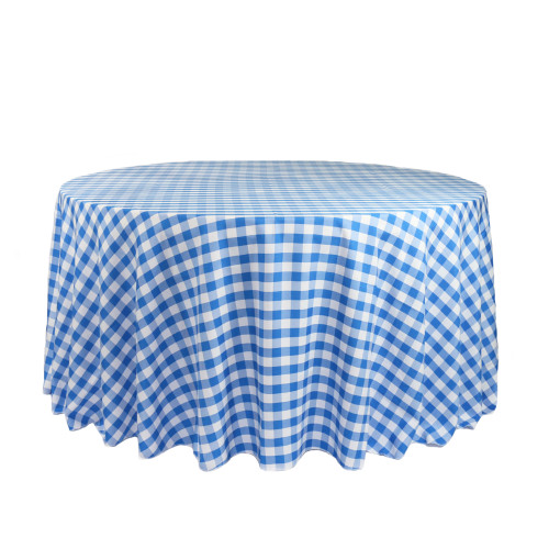 120 Inch Round Polyester Tablecloth Gingham Checkered Royal Blue