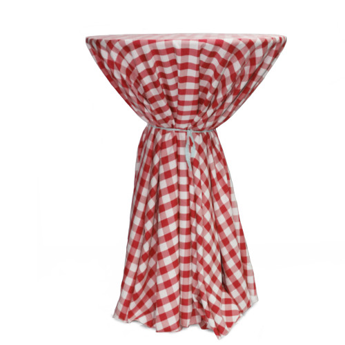120 Inch Round Polyester Tablecloth Checkered Red on cocktail table