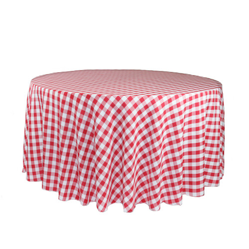 120 Inch Round Polyester Tablecloth Checkered Red