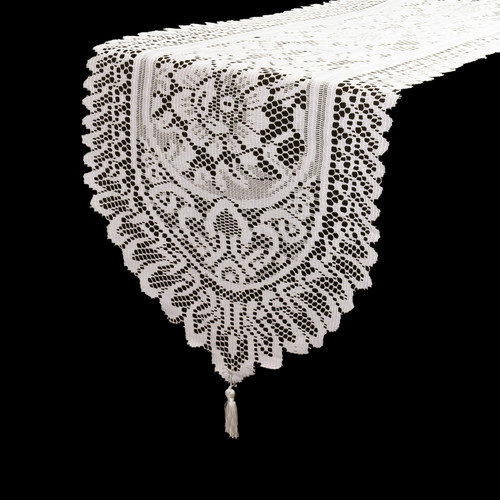 13 x 108 Inch Crochet Lace Table Runner Ivory