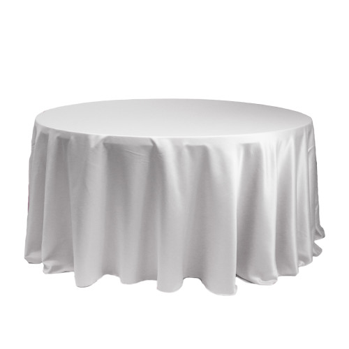 120 Inch Round L'amour Tablecloth White