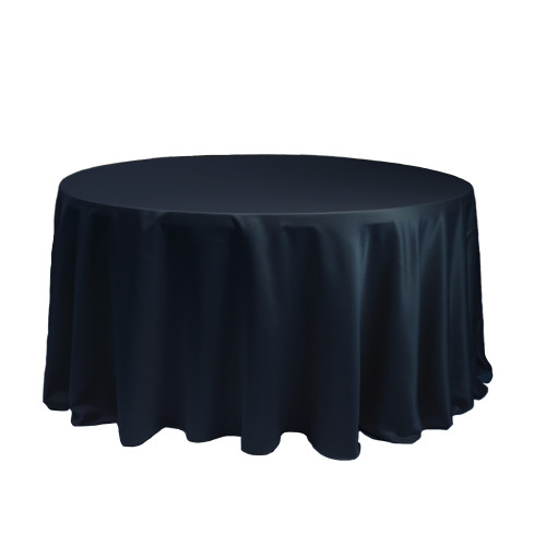 120 Inch Round L'amour Tablecloth Navy Blue