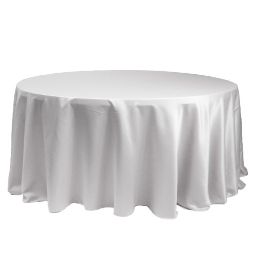 132 Inch Round L'amour Tablecloth White