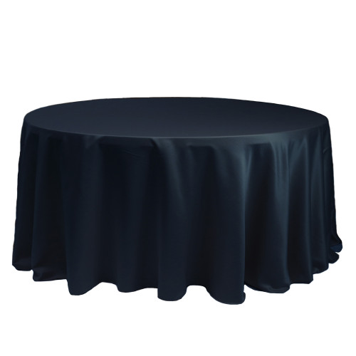 132 Inch Round L'amour Tablecloth Navy Blue