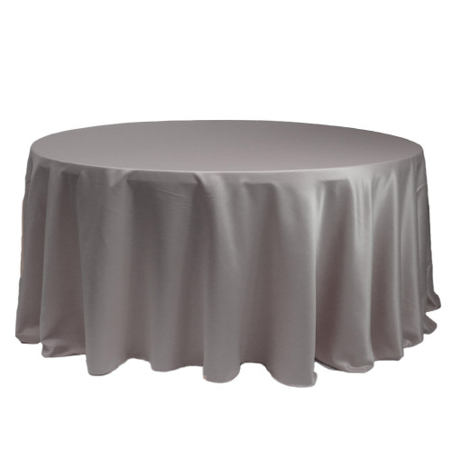 132 Inch Round L'amour Tablecloth Dark Silver