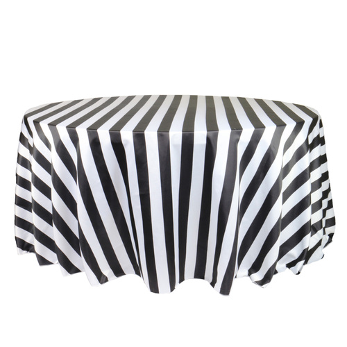 132 Inch Round L'amour Tablecloth Black/White Striped