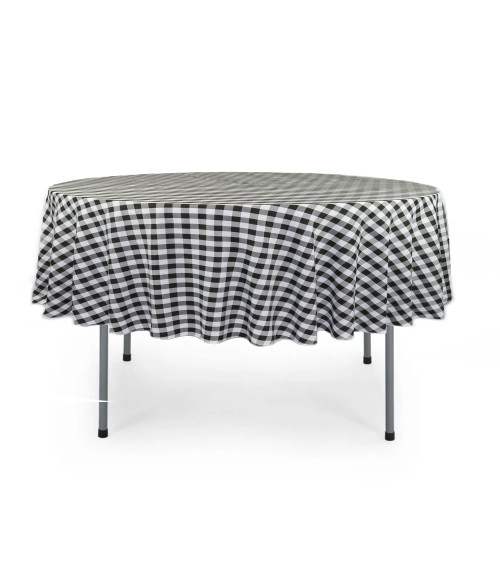 70 Inch Round Polyester Tablecloth Black