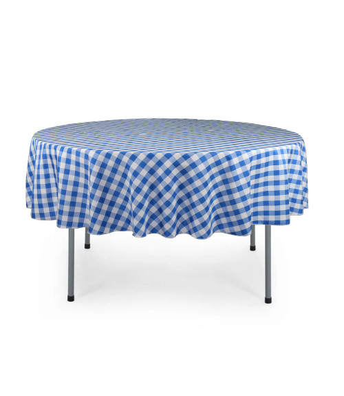 70 Inch Round Polyester Tablecloth Checkered Royal Blue