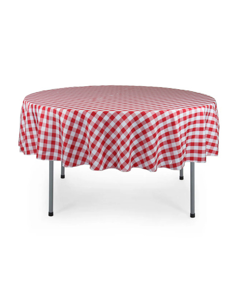 70 Inch Round Polyester Tablecloth Checkered Red