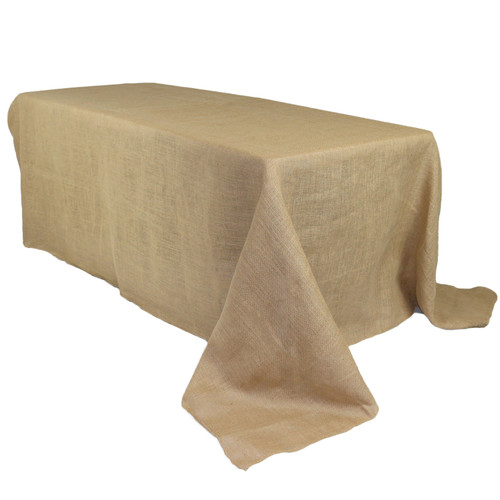 90 x 156 Inch Rectangular Burlap Tablecloth