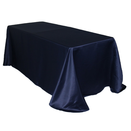 90 x 132 Inch Rectangular L'amour Tablecloth Navy Blue