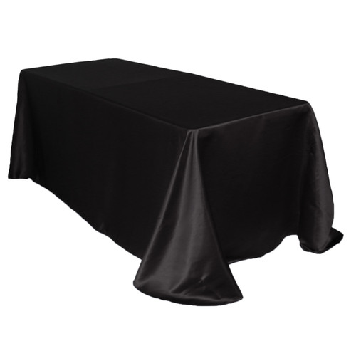 90 x 132 Inch Rectangular L'amour Tablecloth Black