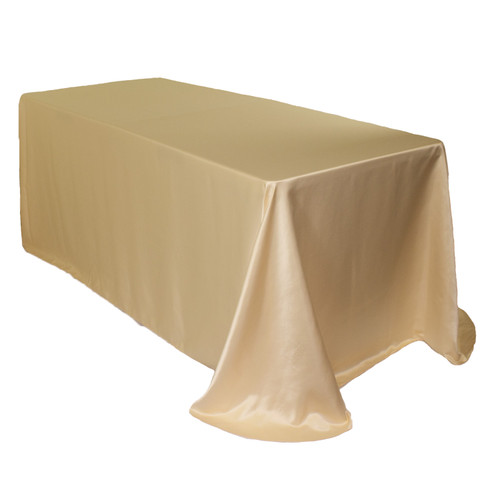 90 x 156 Inch Rectangular L'amour Tablecloth Champagne