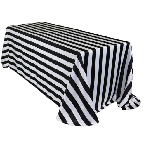 90 x 156 Inch Rectangular L'amour Tablecloth Black/White Striped
