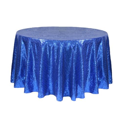 120 Inch Round Glitz Sequin Tablecloth Royal Blue