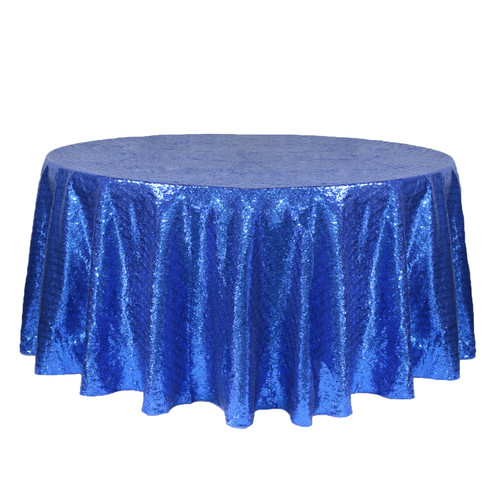 132 Inch Round Glitz Sequin Tablecloth Royal Blue