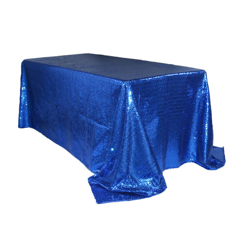 90 x 132 Inch Rectangular Glitz Sequin Tablecloth Royal Blue