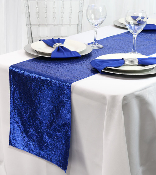 14 x 108 Inch Glitz Sequin Table Runner Royal Blue