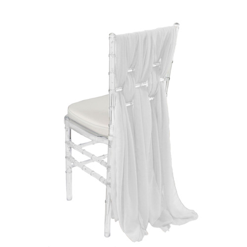 5 Pack 6 Ft Chiffon Chiavari Chair Sashes White