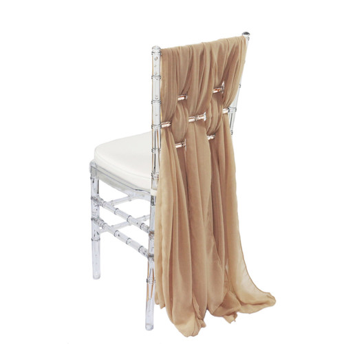 5 Pack 6 Ft Chiffon Chiavari Chair Sashes Champagne