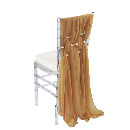 5 Pack 6 Ft Chiffon Chiavari Chair Sashes Gold