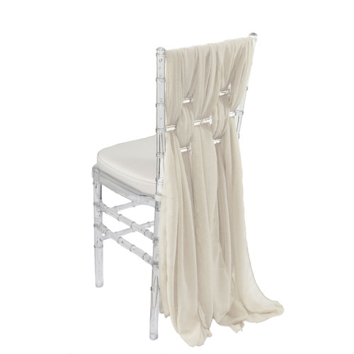 5 Pack 6 Ft Chiffon Chiavari Chair Sashes Ivory