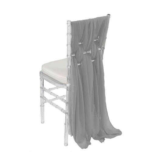 Chiffon Chiavari Chair Sashes Silver